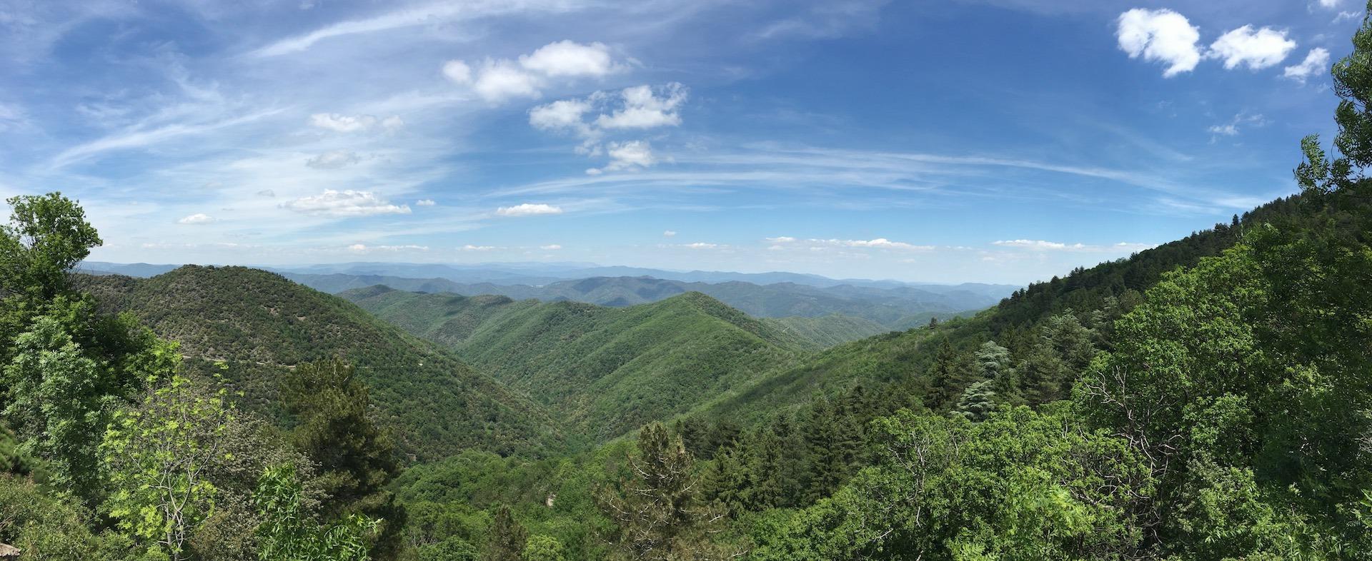 Panorama d'une vallée Cévenole ruisseau du liron
