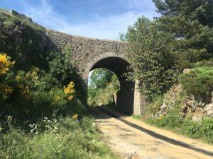Pont moutonnier surplombant la D20 reliant la vallée de l'Hérault à celle du gardon